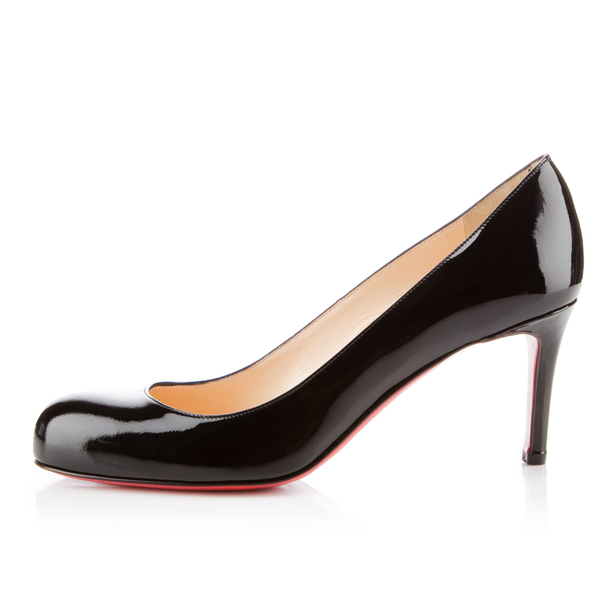 christian louboutin black and nude simple pump. Black Bedroom Furniture Sets. Home Design Ideas