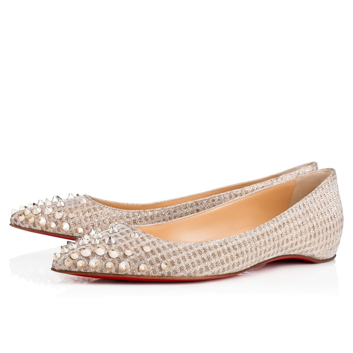 f94f58b69de SPIKYSHELL FLAT NUDE WHITE GOLD Fabric - Women Shoes ...